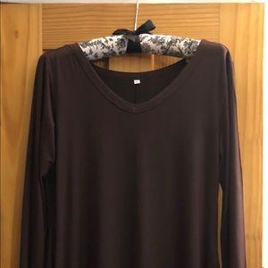Dresses & Skirts - BOUTIQUE V-NECK LONG SLEEVE COTTON DRESS